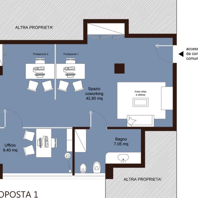 ufficio coworking imola bologna – area creativa – proposta 2 scrivanie