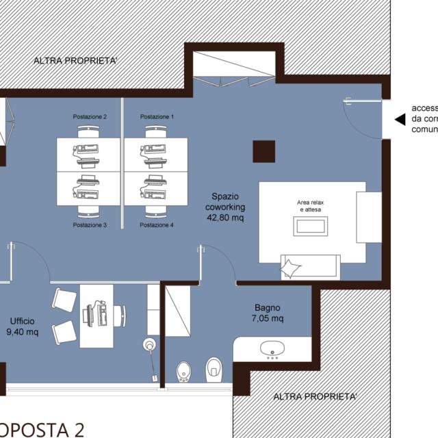 ufficio coworking imola bologna – area creativa – proposta 4 scrivanie