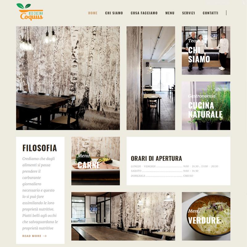 realizzazione sito web coquus bio cucina imola - area web