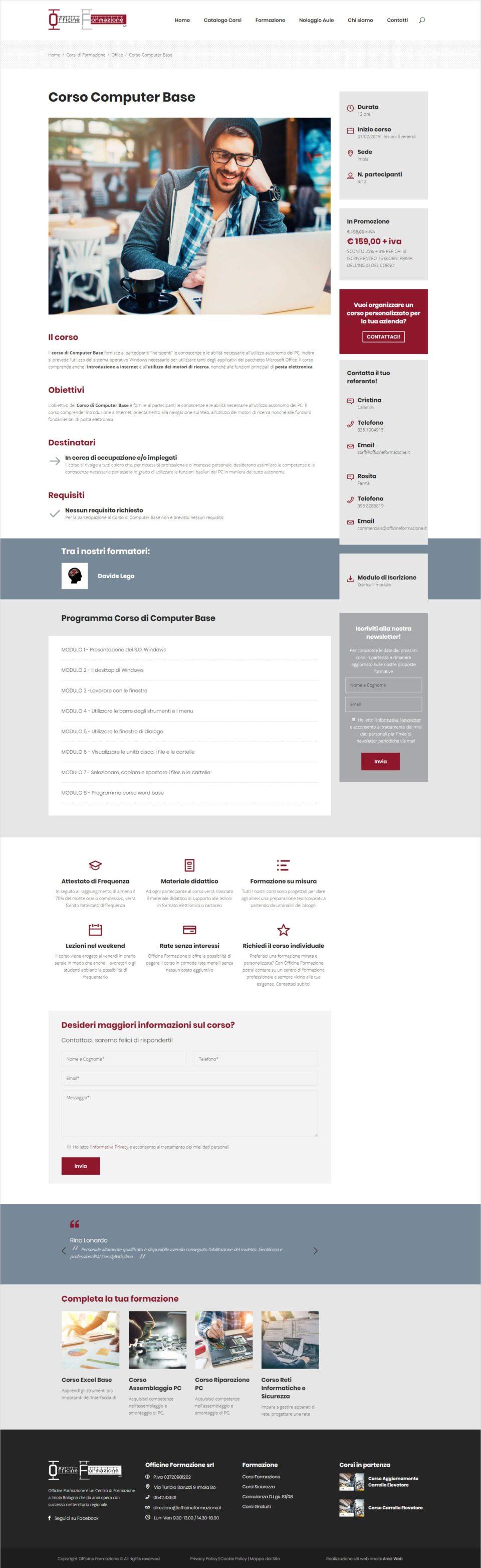 realizzazione sito web officine formazione imola - scheda corso - area web imola